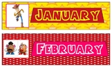 Toy Story 4 Theme Months of the Year Cards for Calendar or Bulletin Board