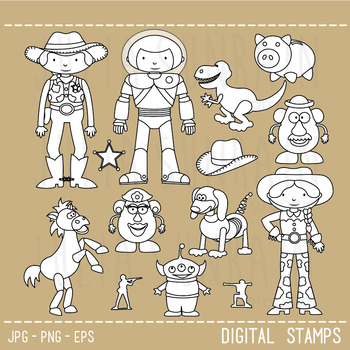 Toy Story Digital Stamp Black Line Clipart
