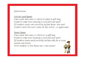 Toy Story Fry First Hundred Words Activity Pack