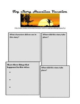 Toy Story Hawaiian Vacation Disney Short Companion Worksheet