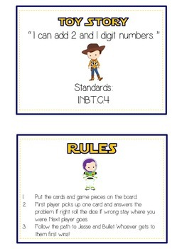 Toy Story Math Folder Game - Common Core - Adding 2 and 1 Digit Numbers