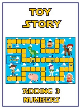Toy Story Math Folder Game - Common Core - Adding Three 3 Numbers
