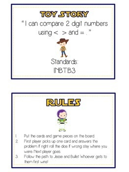 Toy Story Math Folder Game - Common Core - Comparing 2 Digit Numbers