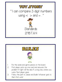 Toy Story Math Folder Game - Common Core - Comparing 3 Digit Numbers