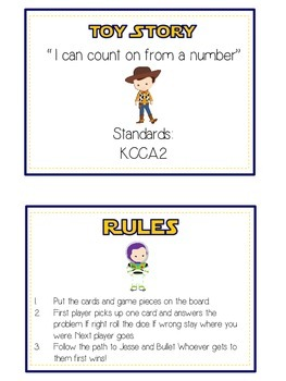 Toy Story Math Folder Game - Common Core - Counting On From Number