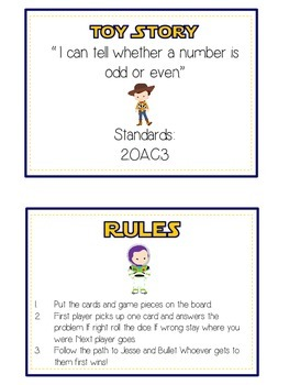 Toy Story Math Folder Game - Common Core - Even and Odd Numbers