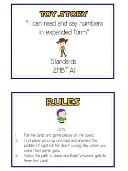 Toy Story Math Folder Game - Common Core - Expanded Form