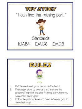 Toy Story Math Folder Game - Common Core - Finding the Missing Part