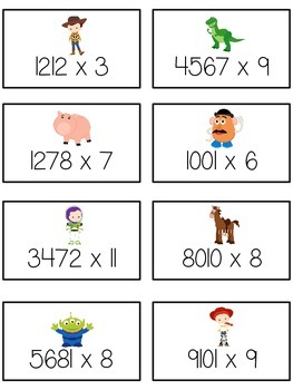 Toy Story Math Folder Game - Common Core - Multiplication 1 2 3 4 Digits