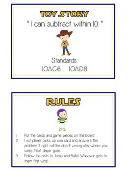 Toy Story Math Folder Game - Common Core - Subtracting within 10