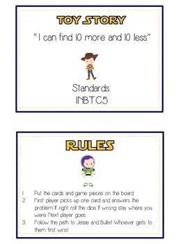 Toy Story Math Folder Game - Common Core - Ten More and Ten Less