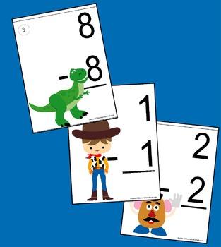 Toy Subtraction Flashcards (0-11) - Kindergarten & 1st Grade Math