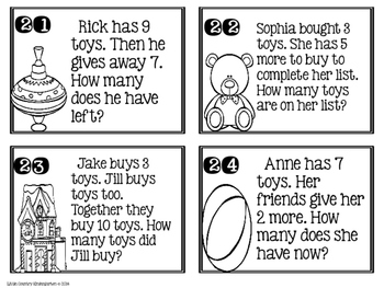 Toy Task Cards: Math Word Problems 1-10 with Unknowns