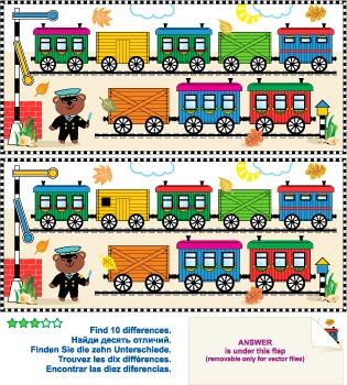 Toy Train Find the Differences Picture Puzzle, Commercial Use Allowed