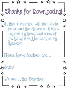 Toy and classroom labels