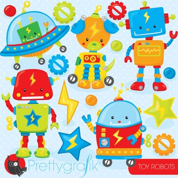 Toy robots clipart commercial use, vector graphics, digital - CL801