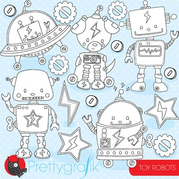 Toy robots stamps commercial use, vector graphics, images - DS801