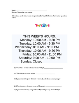 Toy's R Us Hours of Operation