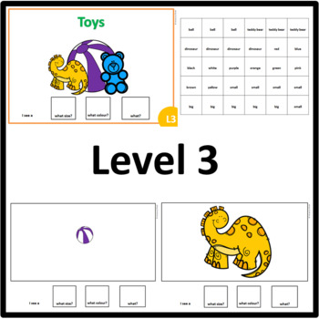 Toys AUS/UK version WHAT SIZE, WHAT COLOUR, WHAT? level 1, level 2 and level 3