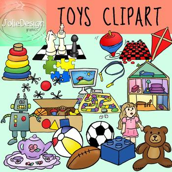Toys Clipart 42 Piece Set - Color and Black and White