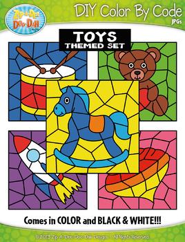 Toys Color By Code Clipart {Zip-A-Dee-Doo-Dah Designs}