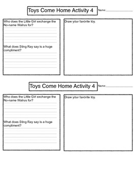Toys Come Home Reading Response Sheets