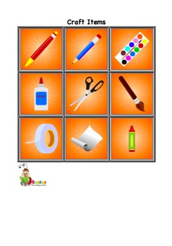 Toys, Instruments and Craft Items Vocabulary Cards
