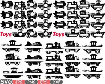 Toys Machine circle frame split clipart toy cars airplane boat train school 651S