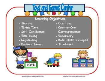 Toys and Games Learning Center Sign~ With Objectives