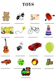 Toys- label the pictures worksheet