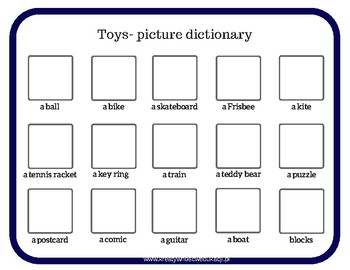 Toys- picture dictionary