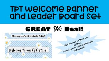 TpT Banner and Leader Board Set - Blue Stripes Floral