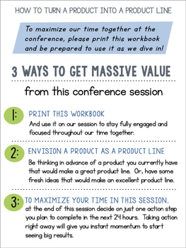 TpT Conference Workbook: How to Turn a Product Into a Product Line