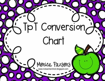 TpT Conversion Chart for Sellers