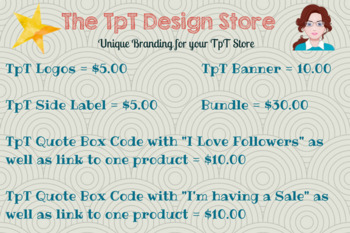 TpT Design Store Logos, Banners, Side Labels and Quote Box