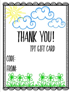 TpT Gift Card Printables