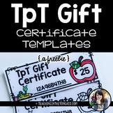 EDITABLE TpT Gift Certificate Templates