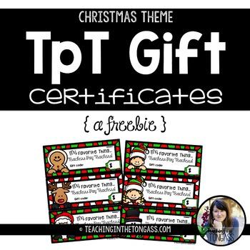 EDITABLE TpT Gift Certificate Templates Christmas Edition