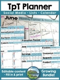 TpT Planner & Social Media Organizer BLUE - Growing Bundle
