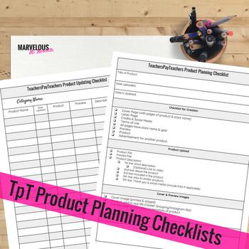 TpT Product Checklists {PDF & Google Drive}