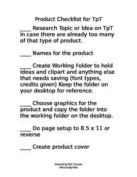 TpT Product Creation Checklist (editable)