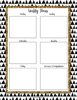 Planner for Teachers pay Teachers Sellers! ( B/W Gold Glitter & Floral)