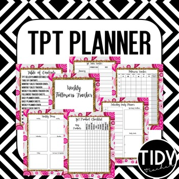 Planner for Teachers pay Teachers Sellers! (Pink Paisley & Gold Glitter)