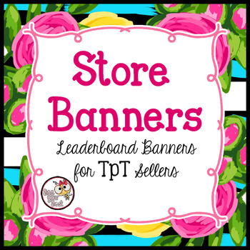TpT Store Leaderboard Banner PRETTY PINK & YELLOW ROSES