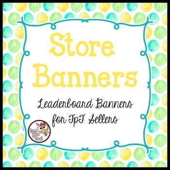 TpT Store Leaderboard Banner WATERCOLOR  POLKA DOTS