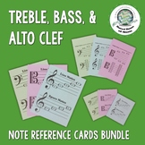 Treble Alto and Bass Clef Note Reference Card BUNDLE Distance Learning
