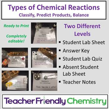 Chemistry Lab: Types of Chemical Reactions (Honors and  Pre-AP Versions)