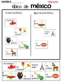 Típico de México {Cinco de Mayo Sort} Activity SPANISH version