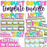 Tpt Product Cover Template BUNDLE | Editable, Rainbow Edition