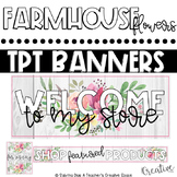 Tpt Store Banner {Farmhouse Pink Flower Theme}